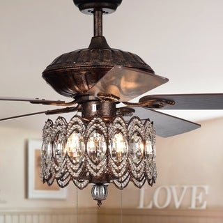 Mariposa 52-inch Rustic Bronze Chandelier Ceiling Fan wtih Crystal Shade