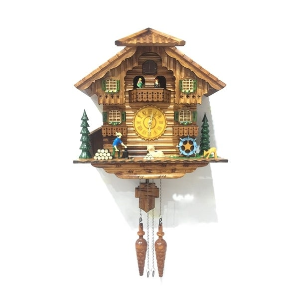 ALEKO Handcrafted Cuckoo Wall Clock Home Art with Dancing Townsfolk 14.5x15x7 inch