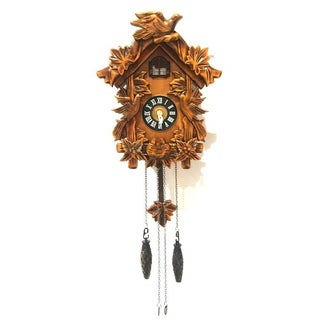 ALEKO Handcrafted Wooden Brown Cuckoo Wall Clock 10.5 x 9 x 5 Inches