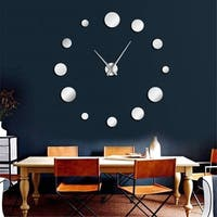 ALEKO Large Frameless Modern Reflective Dot DIY Wall Clock Silver