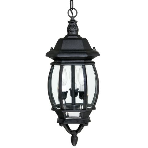 French Country 3-light Black Outdoor Hanging Lantern