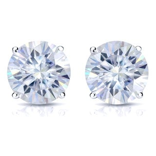 Platinum 2ct TGW Round Moissanite Stud Earrings by Auriya - 2.00ct