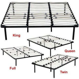 King/Queen/Full/Twin Wood Slats Platform Mattress Metal Bed Frame