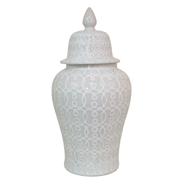 Three Hands White Gloss-Finished Ceramic 33-inch Rounded Temple Jar
