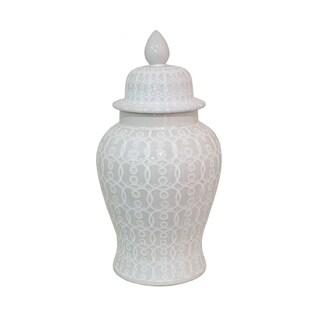 Three Hands White Ceramic Temple Jar