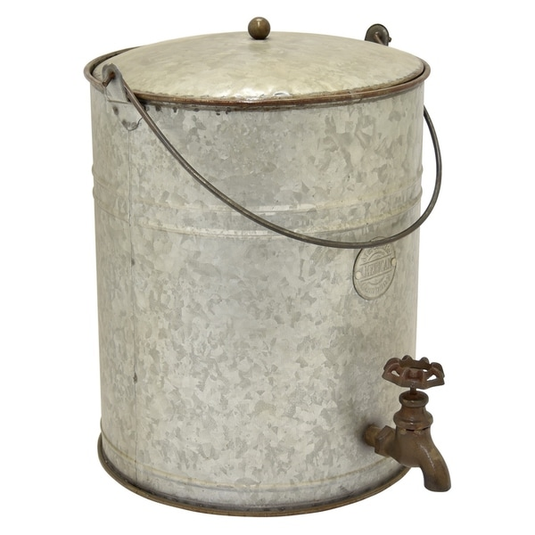 Three Hands Grey Metal 14-inch Bucket with Spigot