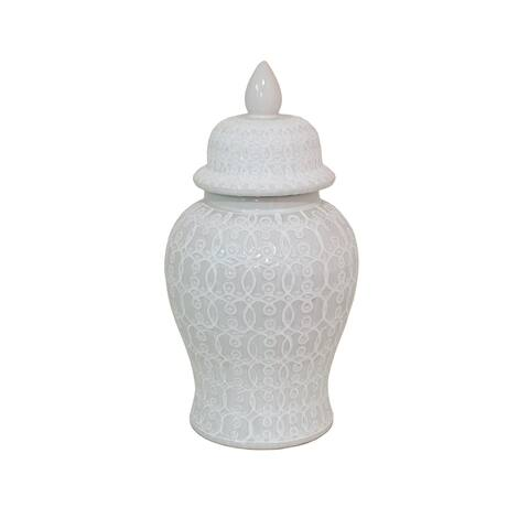 "Three Hands 19 "" White - CERAMIC TEMPLE JAR - WHITE"