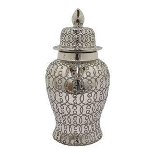 Three Hands 25-inch Silvertone Ceramic Temple Jar