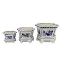 Three Hands Blue Ceramic 8-inch Planter (Set of 3)