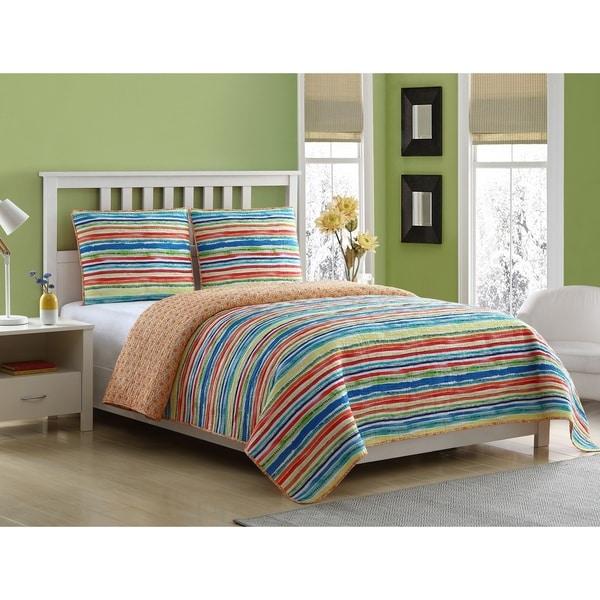 Fiesta Antigua Stripe 2 & 3 Piece Reversible Quilt Set