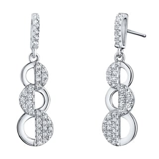 Sterling Silver Cubic Zirconia Cascade Dangle Drop Earrings