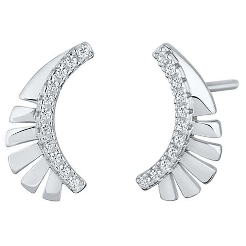 Sterling Silver Cubic Zirconia Feather Crawler Earrings
