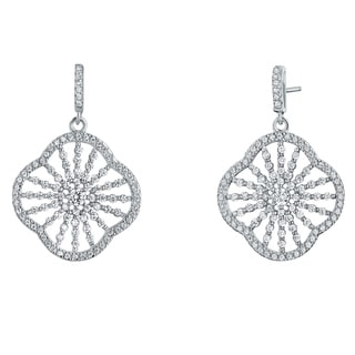 Sterling Silver Cubic Zirconia Mandala Dangle Drop Earrings