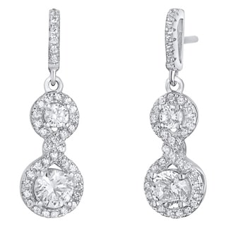 Sterling Silver Cubic Zirconia Double Dangle Drop Earrings