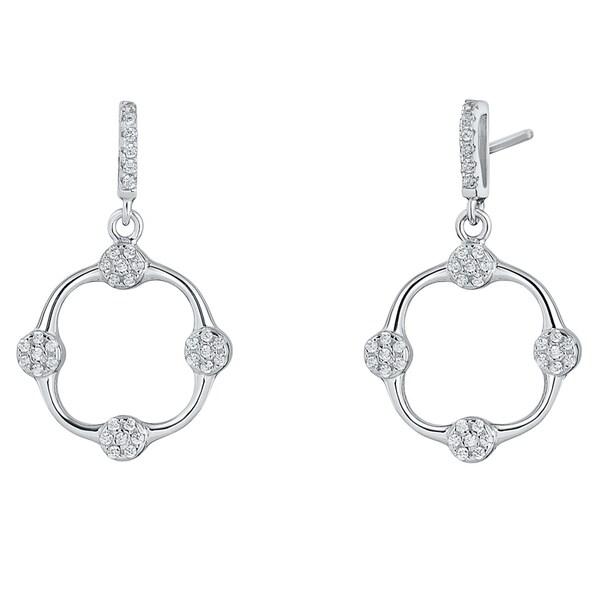 Sterling Silver Cubic Zirconia Confetti Dangle Drop Earrings
