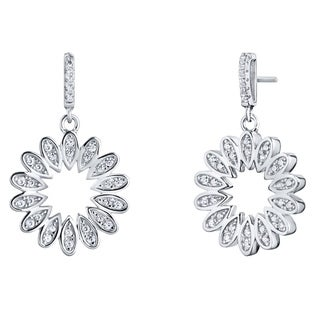 Sterling Silver Cubic Zirconia Blossom Dangle Drop Earrings