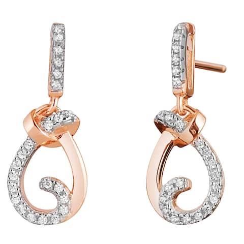 Sterling Silver Cubic Zirconia Knot Rose Tone Dangle Drop Earrings