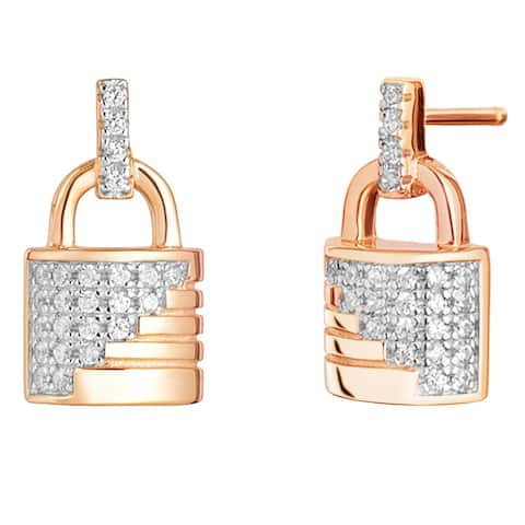 Sterling Silver Cubic Zirconia Ribbed Lock Rose Tone Earrings