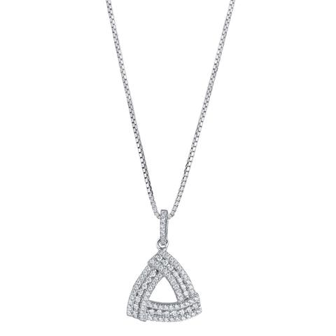 Sterling Silver Cubic Zirconia Triangle Knot Pendant Necklace