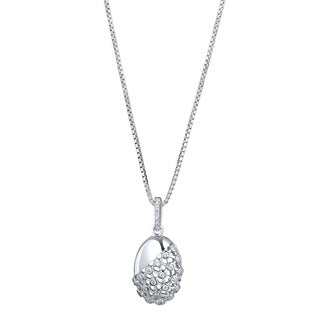 Sterling Silver Cubic Zirconia Weave Pendant Necklace
