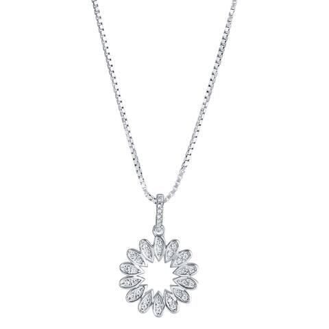 Sterling Silver Cubic Zirconia Blossom Pendant Necklace