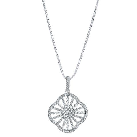 Sterling Silver Cubic Zirconia Mandala Pendant Necklace