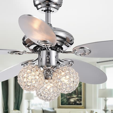 Silver Orchid Lang Chrome 5-blade 3-light Crystal 42-inch Ceiling Fan with Reversible Blades