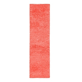 "Superior Elegant, Plush, Hand-Woven Spiced Coral Shag Runner Rug - 2'3"" x 11'"