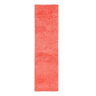 "Superior Elegant, Plush, Hand-Woven Spiced Coral Shag Runner Rug - 2'3"" x 13'"