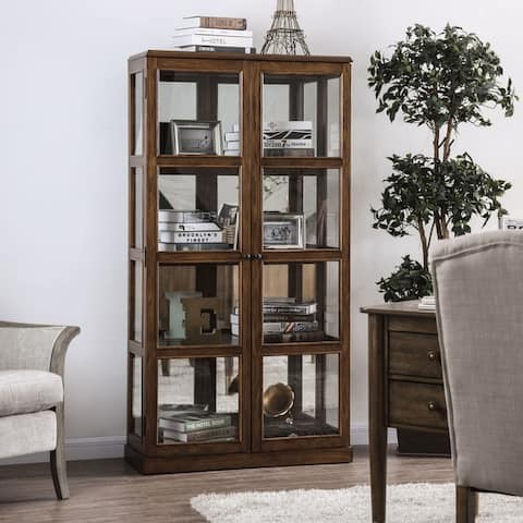 Furniture of America Doby Transitional Wood 4-shelf Curio Cabinet