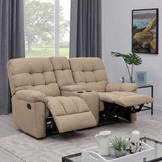 Copper Grove Gramsh Tan Tufted Velvet 2-seat Recliner Loveseat with Power Storage Console