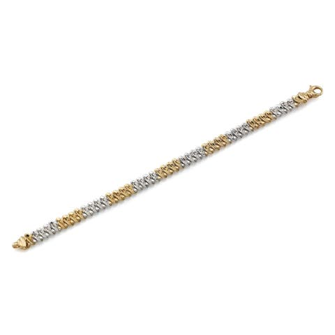 14k Two-tone Wavy Chain Link Bracelet, 7.5 Inches