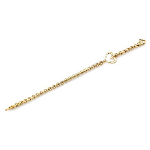 14k Yellow Gold Open Heart Rolo Chain Bracelet, 7.25 Inches