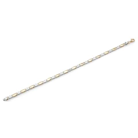 14k Two-tone Gold Xoxo Hugs And Kisses Bracelet, 8 Inches