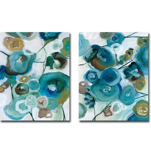Sapphire Blooms I & II by Cat Tesla 2-piece Gallery Wrapped Canvas Giclee Art Set