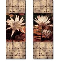 Waterlily Panel I & II by John Seba 2-piece Gallery Wrapped Canvas Giclee Art Set