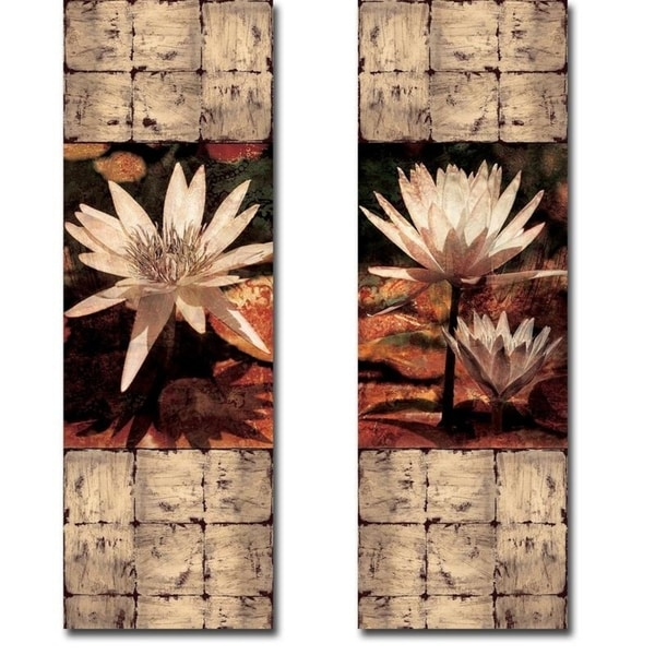 Waterlily Panel I & II by John Seba 2-piece Gallery Wrapped Canvas Giclee Art Set