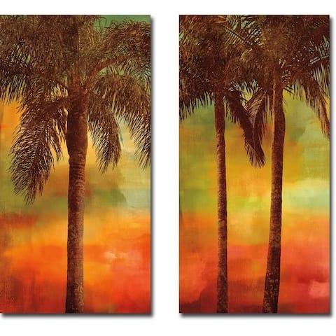 Sunset Palms I & II by John Seba 2-piece Gallery Wrapped Canvas Giclee Art Set