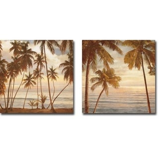 Palms on the Water I & II by John Seba 2-piece Gallery Wrapped Canvas Giclee Art Set