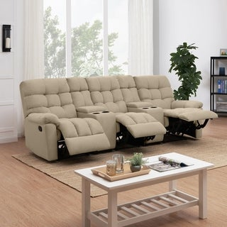 Copper Grove Gramsh Tan Tufted Velvet 3-seat Recliner Loveseat with Power Storage Console