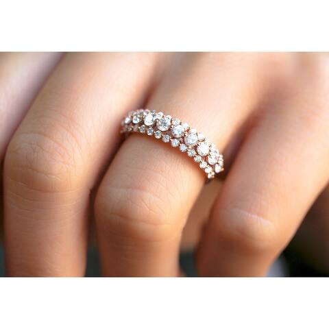 Annello by Kobelli 10k Rose Gold 1 Carat Three Row Womens Diamond Wedding Band (GH/I1)