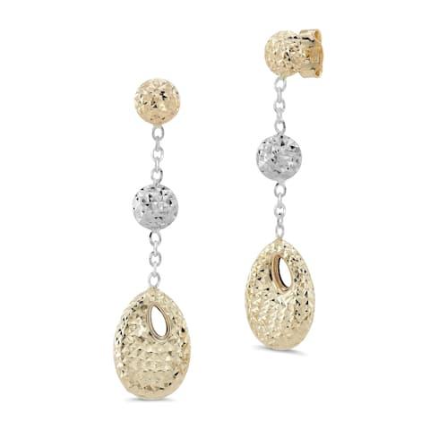14k Two-tone Gold Diamond Cut Linear Drop Earrings