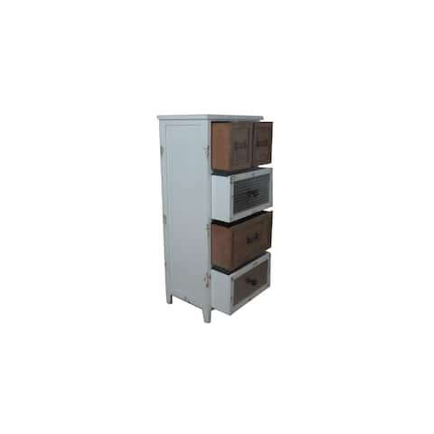 Jeco White Wood/Metal 13-Drawer Cabinet