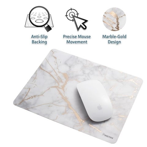 Insten 9.5-inch Ultra Thin Waterproof Silky Smooth Golden Marble Print Mouse Pad with Anti-Slip Backing (4 Colors)