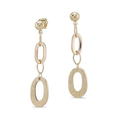 14k Yellow Gold Oval Link Drop Earrings