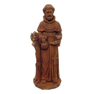 Alpine St. Francis Stone Garden Statue, Brick Red, 31 Inch Tall