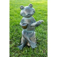 Alpine Frog Reading Book Statue, 16 Inch Tall