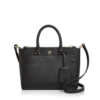 Tory Burch Robinson Small Double-zip Black Leather Tote