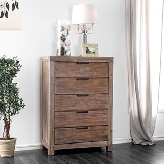 Link to Furniture of America Werr Rustic Oak Solid Wood 5-drawer Chest Similar Items in Dressers & Chests