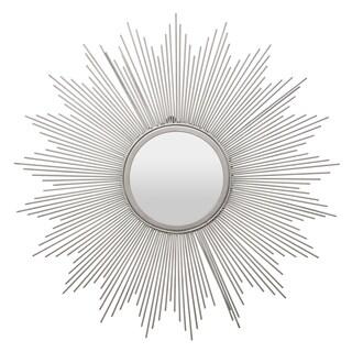 Three Hands Silver Metal-framed Sunburst Wall Mirror